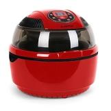 Klarstein VitAir Heißluftgarer Heißluftfritteuse Fritteuse ohne Öl für fettarmes Grillen, Backen oder Garren (1400W, Halogen-Infrarot-Heizelement, 9 Liter, mit Timer) rot - 1