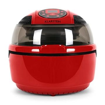 Klarstein VitAir Heißluftgarer Heißluftfritteuse Fritteuse ohne Öl für fettarmes Grillen, Backen oder Garren (1400W, Halogen-Infrarot-Heizelement, 9 Liter, mit Timer) rot - 3