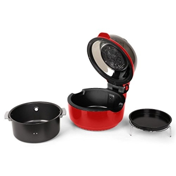 Klarstein VitAir Heißluftgarer Heißluftfritteuse Fritteuse ohne Öl für fettarmes Grillen, Backen oder Garren (1400W, Halogen-Infrarot-Heizelement, 9 Liter, mit Timer) rot - 9