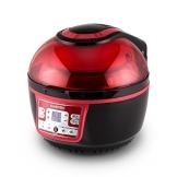 Klarstein VitAir Turbo Fritteuse Heißluft-Fritteuse ohne Öl zum Backen und Grillen (1400 Watt, großes 9 Liter Volumen, inkl. Rundblech, Grillrost, Hähnchenspieß und Grillkäfig, einfach zu reinigen) rot-schwarz - 6