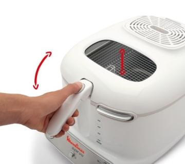 Moulinex AM3021 Fritteuse Super Uno / 1.800 Watt / Timer / wärmeisoliert / 1,5 kg Fassungsvermögen / weiß/hellgrau - 2